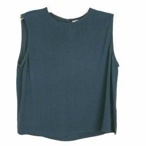 Eileen Fisher Georgette Crepe 100% Silk Shell TEAL